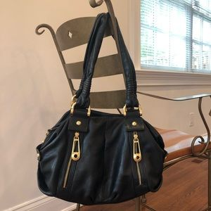 B MAKOWSKY black leather bag with gold accents